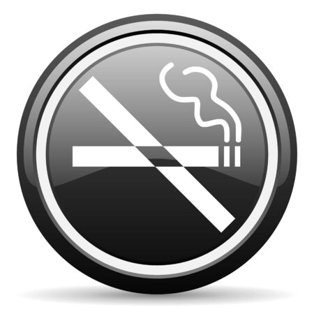 no smoking black glossy icon on white background Stock Photo - 17087405