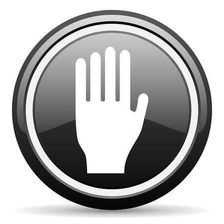 stop black glossy icon on white background Stock Photo - 17087118