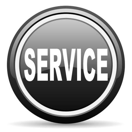 service black glossy icon on white background photo