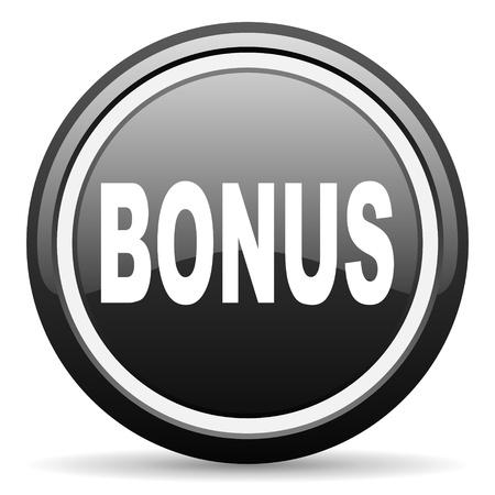 bonus black glossy icon on white background photo