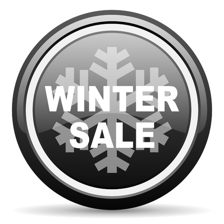 winter sale black glossy icon on white background photo
