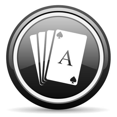 playing cards black glossy icon on white background photo