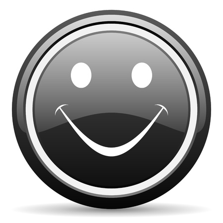 smile black glossy icon on white background Stock Photo - 17087386