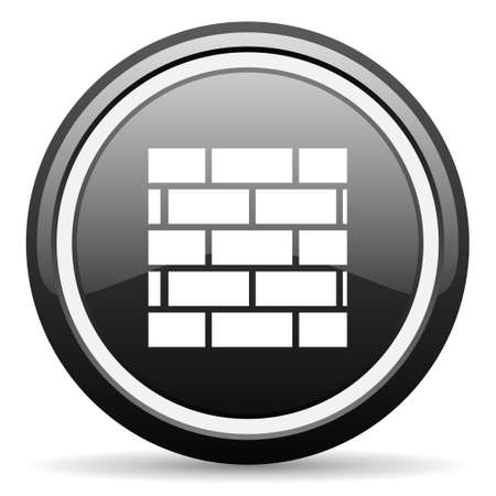 firewall black glossy icon on white background Stock Photo - 17087197