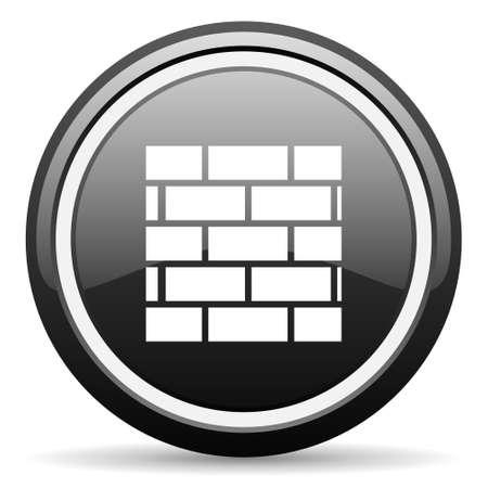 firewall black glossy icon on white background Stock Photo - 17087197