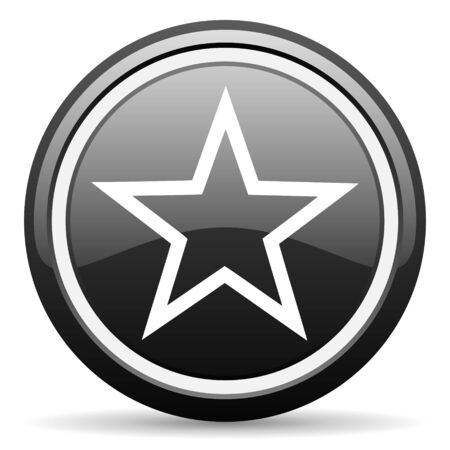 star black glossy icon on white background photo