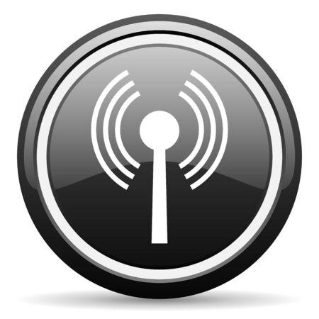wireless hot spot: wifi black glossy icon on white background Stock Photo