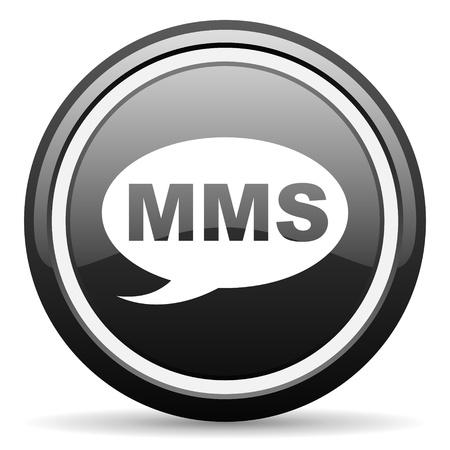 mms black glossy icon on white background Stock Photo - 17087340