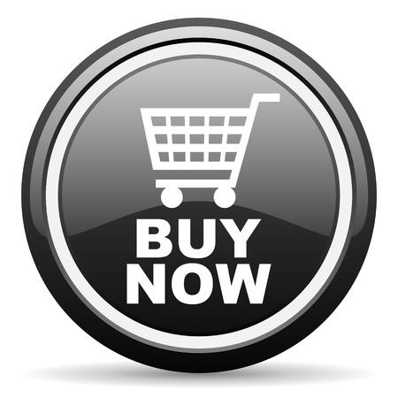 buy now black glossy icon on white background Stock Photo - 17087497