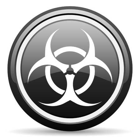 virus black glossy icon on white background Stock Photo - 17087551