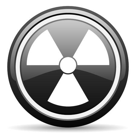 radiation black glossy icon on white background Stock Photo - 17087185