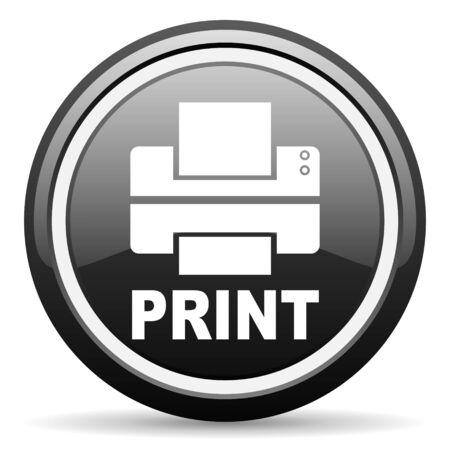 print black glossy icon on white background photo