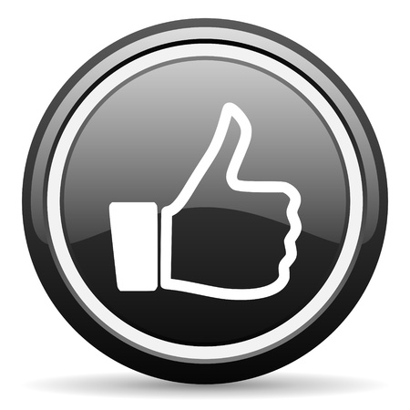 thumb up black glossy icon on white background photo