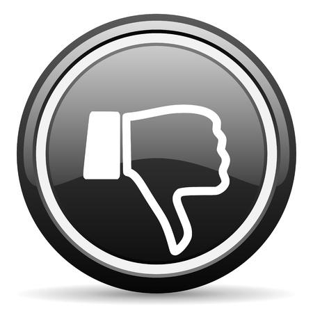 thumb down black glossy icon on white background Stock Photo - 17087343