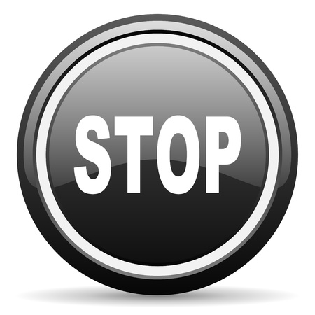 stop black glossy icon on white background Stock Photo - 17087291