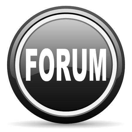 forum black glossy icon on white background photo
