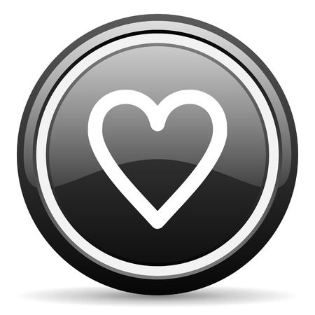 heart black glossy icon on white background Stock Photo - 17087335