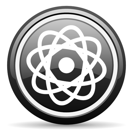 atom black glossy icon on white background photo