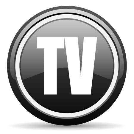 tv black glossy icon on white background photo