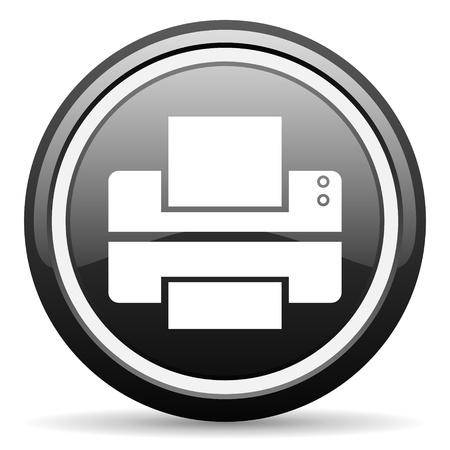 printer black glossy icon on white background photo