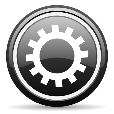 gears black glossy icon on white background photo