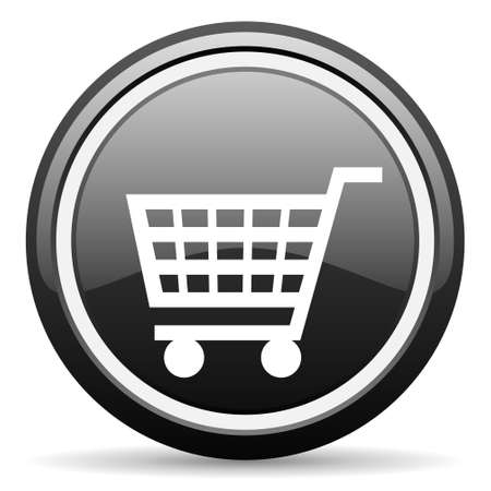 shopping cart black glossy icon on white background photo