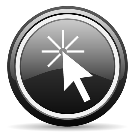 click here black glossy icon on white background Stock Photo - 17087331
