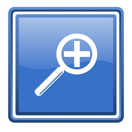 magnification icon: magnification blue glossy square web icon isolated Stock Photo