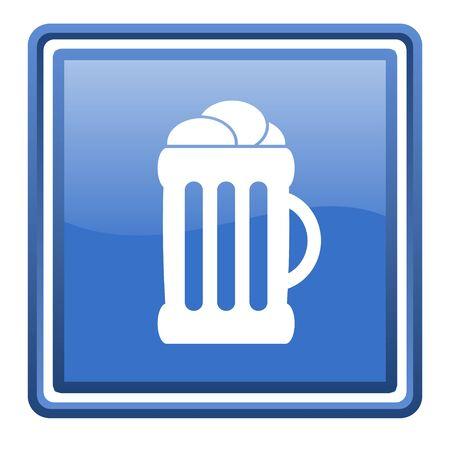cereal bar: beer blue glossy square web icon isolated Stock Photo