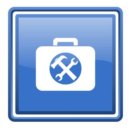 toolkit: toolkit blue glossy square web icon isolated
