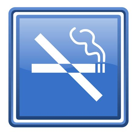 no smoking blue glossy square web icon isolated Stock Photo - 17110010
