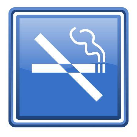 no smoking blue glossy square web icon isolated Stock Photo - 17110010