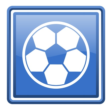 soccer blue glossy square web icon isolated Stock Photo - 17110133