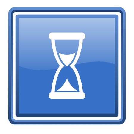 time blue glossy square web icon isolated photo
