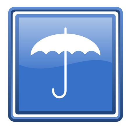umbrella blue glossy square web icon isolated Stock Photo - 17093050