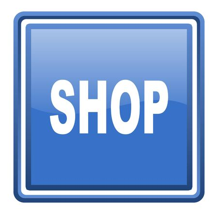 shop blue glossy square web icon isolated photo
