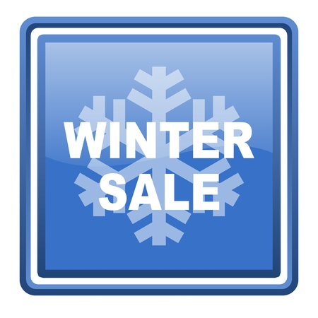 winter sale blue glossy square web icon isolated photo