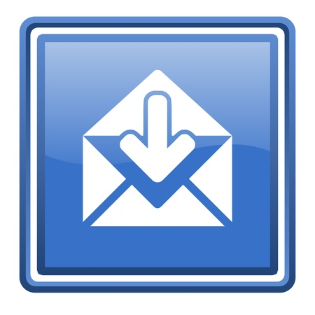 mail blue glossy square web icon isolated photo