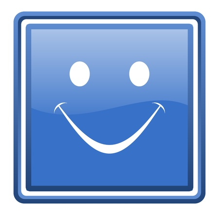 smile blue glossy square web icon isolated Stock Photo - 17093305
