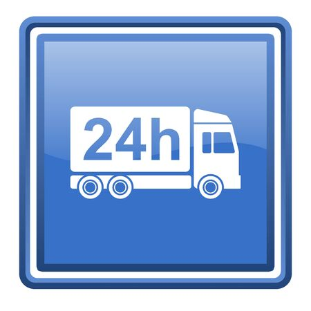 delivery 24h blue glossy square web icon isolated photo