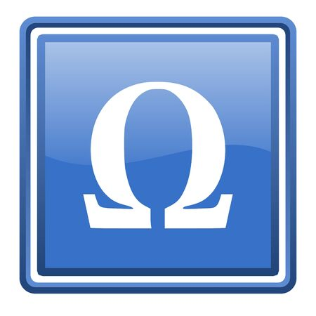 omega blue glossy square web icon isolated photo
