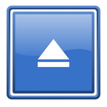 eject blue glossy square web icon isolated Stock Photo - 17093015
