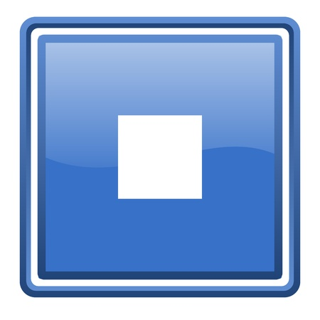 stop blue glossy square web icon isolated Stock Photo - 17093011