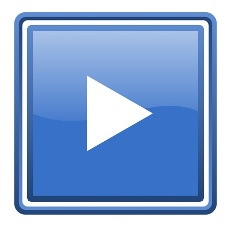 play blue glossy square web icon isolated Stock Photo - 17093023
