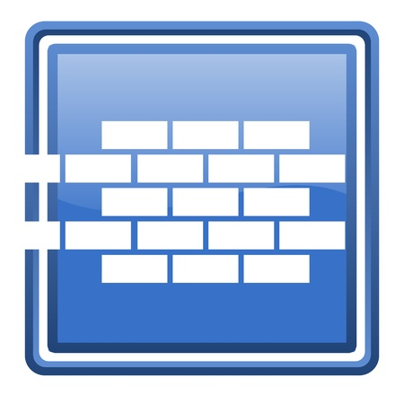 firewall blue glossy square web icon isolated Stock Photo - 17109984