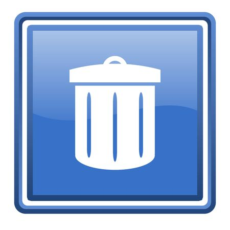recycle blue glossy square web icon isolated Stock Photo - 17093109