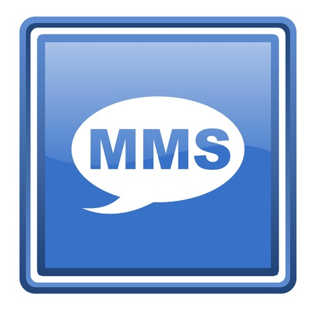 mms blue glossy square web icon isolated Stock Photo - 17109983
