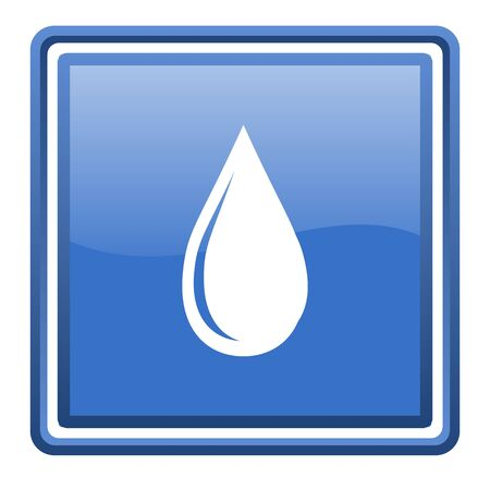 water drop blue glossy square web icon isolated Stock Photo - 17093086