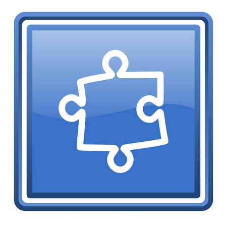 puzzle blue glossy square web icon isolated Stock Photo - 17110023