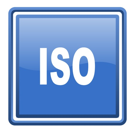 iso blue glossy square web icon isolated photo